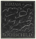 Bookplate of Miriam Rothschild by Eric Gill