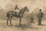 Engraving of Leopold de Rothschild and 'Pietri' and his trainer. c.1910