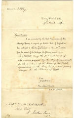 Receipt from the Treasury for the repayment of the first instalment of the 'Suez' loan 9th March 1876