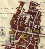 Map showing St Swithin's Lane c.1745