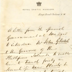 Letter of introduction from the Royal Exotic Nursery for John Veitch to travel in Spain to collect plants