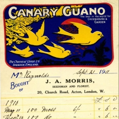 Receipt for Canary guano (used as fertiliser) supplied to Gunnersbury in 1911
