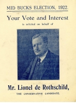 Election campaign literature distributed to support Lionel de Rothschild's campaign in the 1922 general election