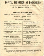 List of treatments available in the Fondation Rothschild in Paris in the 1920s.