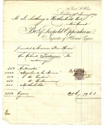Invoice dated 23 January 1872 sent to Sir Anthony de Rothschild (1810-1876) from Leopold Oppenheim an importer of Havana cigars.