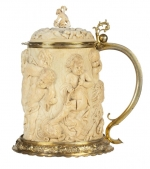 Ivory tankard with relief of Bacchic figures and revellers playing musical instruments.  c.1730. From the Partners' Room in old New Court.