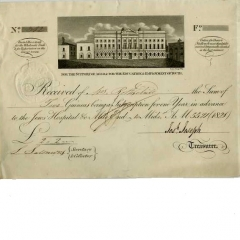 Receipt for contributions to Jews Hospital Mile End 1820 by Nathan Rothschild