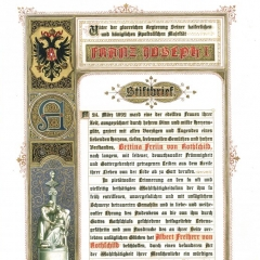 Contract with district administration of Lower Austria concerning a donation made by Albert von Rothschild (1844-1911) of 500