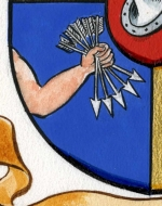 Detail of five arrows from a Rothschild family coat of arms