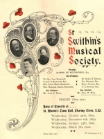 Programme from the St Swithin's Musical Society Concert held 25th October 1899