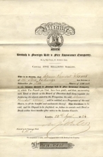 An Alliance share certificate signed by Nathan Mayer Rothschild 1824