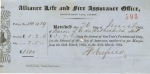 An Alliance Life and Fire Assurance receipt dated 26 March 1863 for Lionel de Rothschild MP (1808-1879)