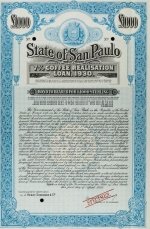 Bond for the State of San Paolo 'coffee loan' of 1930