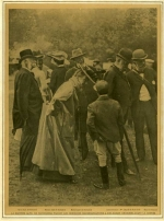 Leonora de Rothschild (1837-1911) making recommendations to her jockey before a race