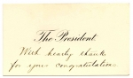 Presidential Thank you card sent to Nathaniel 1st Lord Rothschild from President Theodore Roosevelt in 1904