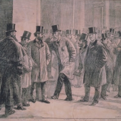 A cartoon by Lockhart Bogle from The Graphic dated 9th May 1891, showing Nathaniel 1st Lord Rothschild (Natty) (1840-1915),  Lionel Walter Rothschild (1868-1937) with Mr Hambro, Mr Montague and others