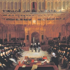 Lionel Nathan de Rothschild introduced in the House of Commons on 26 July 1858 by Lord John Russell and Mr Abel Smith.
