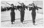 Liliane de Rothschild with Hélène Fould Springer and Aline de Gunzbourg skiing