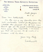 Thank-you letter from Ernest Shackleton to Mrs Leopold de Rothschild
