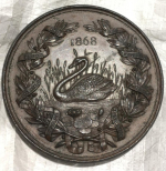 Medal awarded at the Halton and Aston Clinton Industrial Exhibition 1868