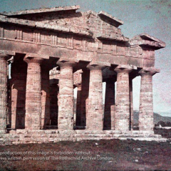 Autochrome of The Temple of Neptune at Paestum Campania Italy