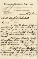 Letter to Lord Rothschild soliciting support for the Manchester Ship Canal project January 1886
