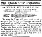 An Irish newspaper announces the arrival of the blight in 1845