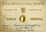 Gold medal awarded to Lionel de Rothschild for orchids by the RHS 1930