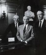 Elie Guy and Alain de Rothschild with bust of Baron James
