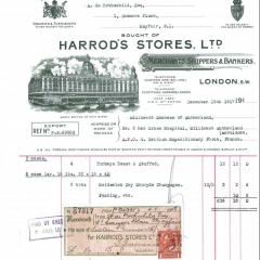 Receipt for provisions sent to serving troops 1917