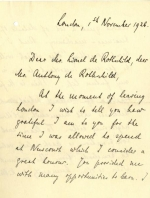 Letter from Siegmund Warburg to Lionel de Rothschild and Anthony de Rothschild 1926